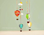 Clouds Hot Air Balloon mobile set: studio, baby, muli colored with clouds