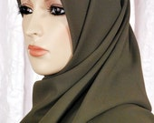 Scarf - ON SALE 19 x 62 Olive Shayla Scarf For Hijab