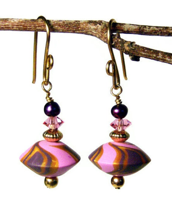 Handmade Polymer Clay Pierced Earrings Jewelry Gold Plated Swirled Lentil Shape Drops Pink Gold Maroon Pearl Vintage Bicone