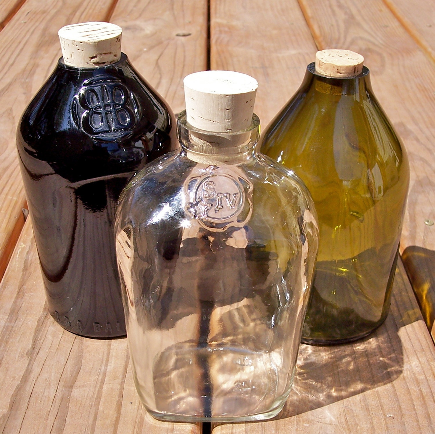 Recycled Empty Amber Clear Multi Color Glass Bottle Kitchen