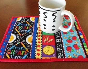 Teacher Quilted Mug Rug, School Mug Rug, Teachers Gift, Teacher Mini Placemat, Quilted School Mug Mat, ABC Mug Rug,