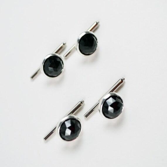 Tuxedo shirt studs jet black round swarovski crystal on for Tuxedo shirt no studs