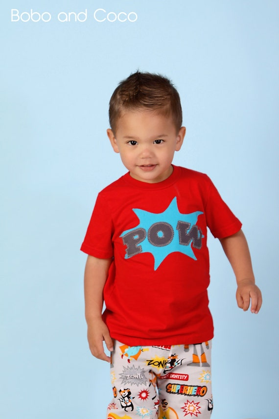 Items similar to superhero baby toddler boys pow t shirt Boys superhero t shirts