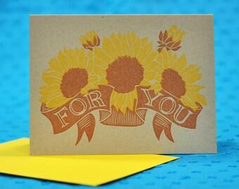 Sunflower For You Letterpress Linocut Card