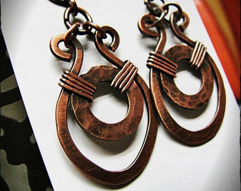 Handmade Hammered Copper Earrings