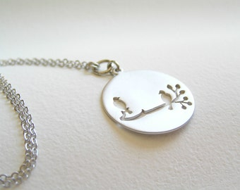 Bird on a Branch Silver Necklace