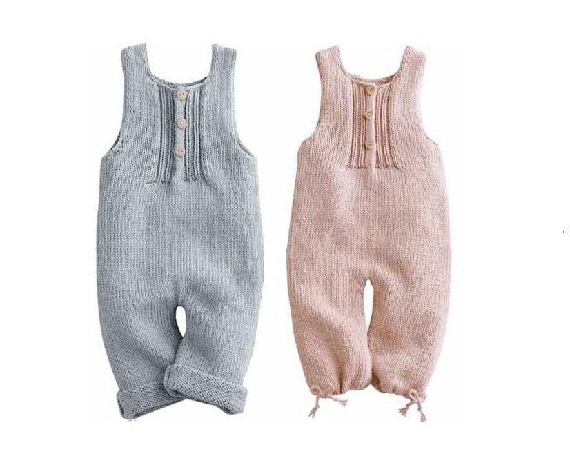 Hand Knit Cashmere/Linen Blend Baby Romper Boy or Girl