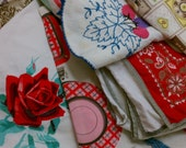Cutter Lot of 14 Vintage Linens Textiles for Sewing & Crafting