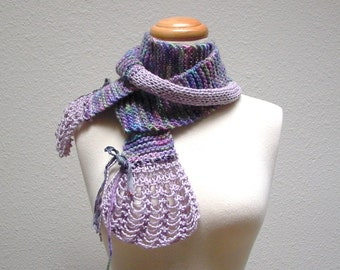 eco fairy. handknit scarf . eco friendly organic knit scarf . merino wool cotton sari silk ribbon . lavender lilac orchid purple