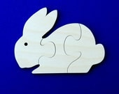 Bunny Party Favors - Package of 10 Wood Toy Puzzles - Great for a Toddler or Childrens Birthday Party
