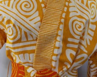 Vintage Kimono Jacket Tribal Pattern Cotton with Belt