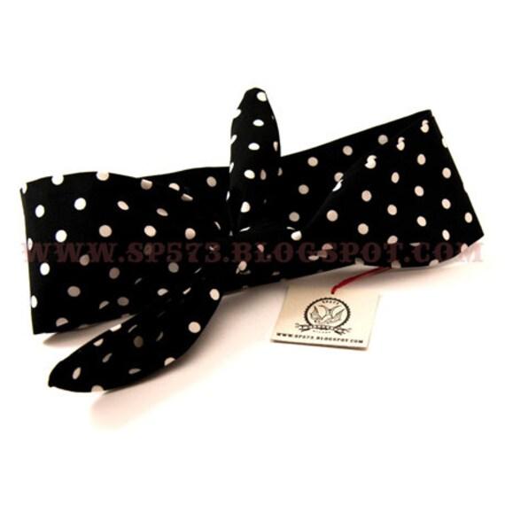 Rosie headband bandana black and white polka dot - rockabilly pin up rock'n'roll retro style bow 50s