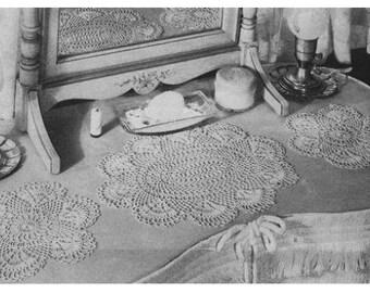 Pattern Vintage , Crochet Scallop Shells Doilies, Cotton Thread Vintage