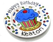 """CUSTOM Large 10"""" Birthday Cake Plate Personalized blue cupcake with  red cherry"""