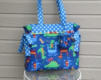On Sale Gracie Diaper Bag or Tote in Dino Dudes Navy and Ta Dots Breeze by Michael Miller