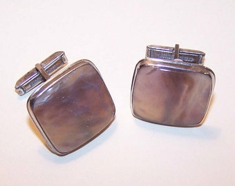Hefty 1950s STERLING SILVER & Agate Cufflinks/Cuff Links....