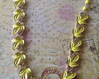 Vintage Yellow Signed CORO ENAMEL Necklace with beaded extension attached leaf motif cottage chic 50s