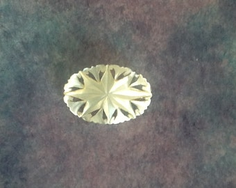 Vintage Victorian Art Deco Mother of Pearl Carved Brooch Pin