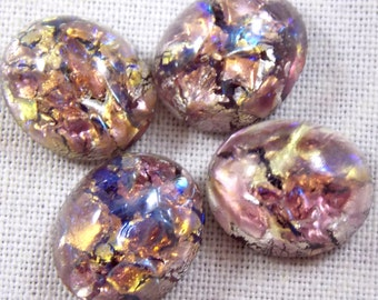 Vintage 12X10 MM Amethyst Purple Glass Faux Opal Cabochons, 4