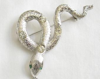 Rhinestone Studded Snake Vintage Brooch