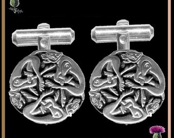 Celtic Book of Kells Cuff Links Zoomorphic Hounds