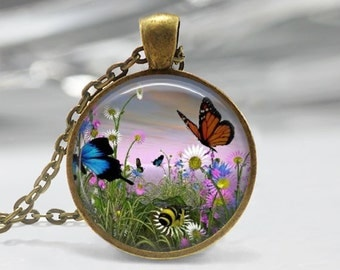 1 inch  Round Pendant  Tray -  Butterflies