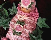 CROCHET PATTERN, baby  no. 130 Darling Baby Pod and Hat set,  newborn to 3 months, instant digital download