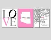 Modern Newlywed Trio - Set of Three 8x10 Customizable Prints - Love, Family Established Bird Tree, State Silhouette Map - GREAT WEDDING GIFT