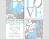 Modern Baby Elephant Giraffe Love Quad - Set of Four 8x10 Nursery Art Prints - First We Had Each Other - Shown in Baby Blue and Gray