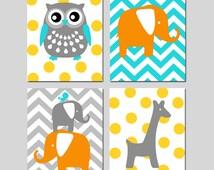 Animal Nursery Art Quad - Owl, Elephant, Bird, Giraffe - Chevron Polka Dot - Kids Wall Art - Set of Four 8x10 Prints - CHOOSE YOUR COLORS