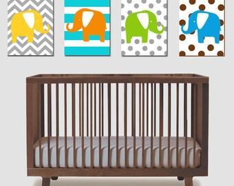 Elephant Nursery Art Quad - Set of Four 8x10 Prints - Chevron, Stripes, Polka Dots - CHOOSE YOUR COLORS