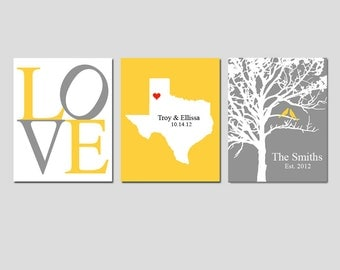 Modern Newlywed Trio - Set of Three 8x10 Custom Prints - Love Typography, Family Established Bird Tree, Love State Map - GREAT WEDDING GIFT