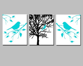 Modern Nature Bird Branch Tree Nursery Wall Art Trio - Set of Three 11x14 Prints - CHOOSE YOUR COLORS - Shown in Aqua, Black, White