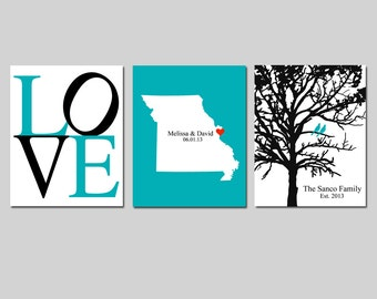 CUSTOM WEDDING GIFT - Modern Newlywed Trio - Set of Three 8x10 Prints - Love, Family Established Bird Tree, State Silhouette Map