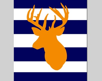 Striped Deer Head Silhouette - 11x14 Print - Kids Wall Art for Nursery - CHOOSE YOUR COLORS - Shown in Navy Blue, Orange, and More