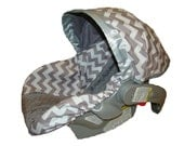 Baby Car Seat Cover - Infant Car Seat Cover - Carrier Slip Cover with Canopy - Carseat Cover - Grey Chevron with Gray Minky Dot