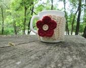Cozy Mug Crochet Coffee Sleeves Mug Hugs Cup Cozy Decor and Housewares - Cream with Flower