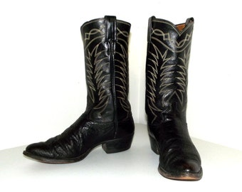 Rockabilly style vintage cowboy boots in black leather size 9 B