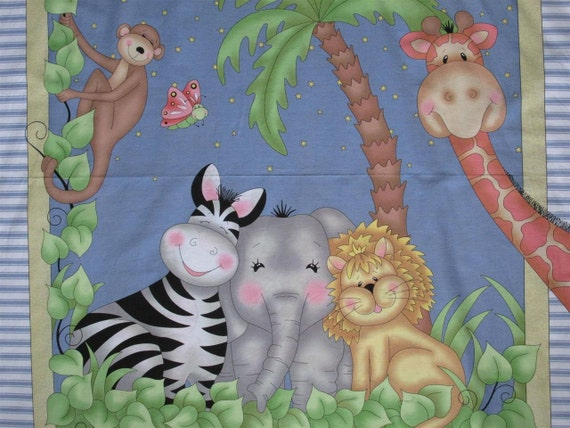 Springs bazooples baby jungle animals cotton by for Childrens jungle fabric