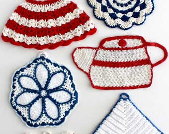Vintage Americana Potholders Crochet Patterns PDF
