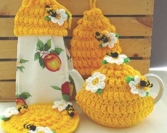 Honey Bee Kitchen Set Crochet Pattern PDF