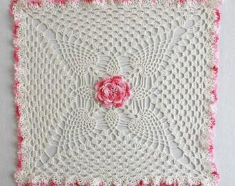 Pineapple & Rose Granny Square Doily Crochet Pattern PDF