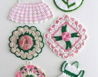 Vintage Pink Floral Potholder Crochet Patterns PDF