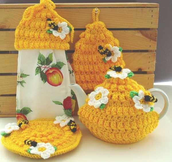 Https Www Etsy Com Listing 122993164 Honey Bee Kitchen Set Crochet Pattern