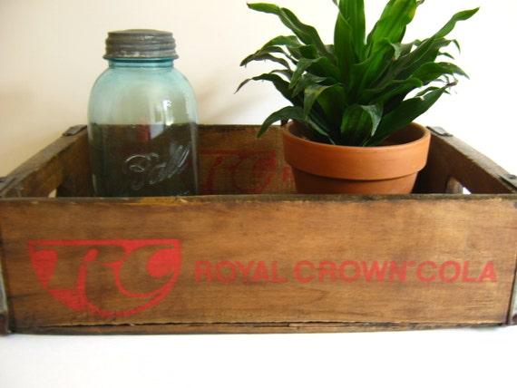 Royal Crown Cola Soda Crate/RC Wood Box/Industrial Storage/Vintage Wall Display Shelf