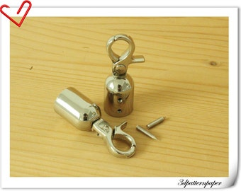 14mm Nickel  cord end hook Rope end hook end stopper 6 piece  P34