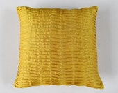 mustard yellow pillow. pintuck pillow.  pleated textured cover yellow throw pillow.16 inch decorative  pillow
