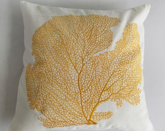 Golden yellow coral fan pillow - sea themed coastal style pillow cover