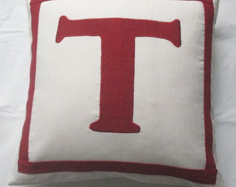 Monogram pillow cover  personalized pillow  cover. Initial pillow.  Letter pillow.  Choose  your  monagram  and  colours. Custom made 12inch
