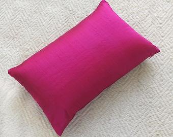 Fuchsia cushion cover. Decorative Lumpur pillow.  12X20inch - custom made pink silk pillow cover.